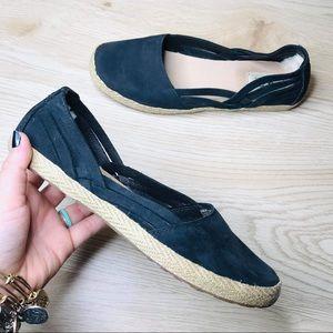 Ugg Black Slip On Espadrille Flats woven shoe